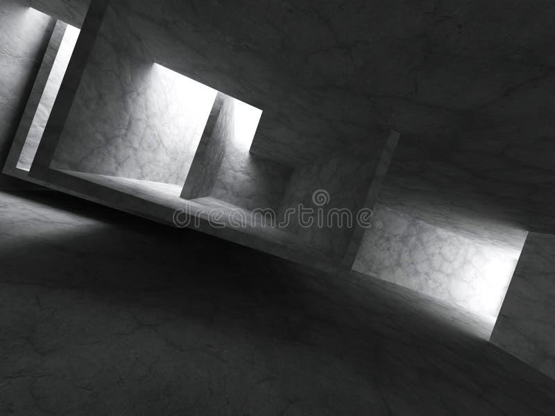 Arquitetura geométrica vazia escura Interior concreto da sala ilustração do vetor