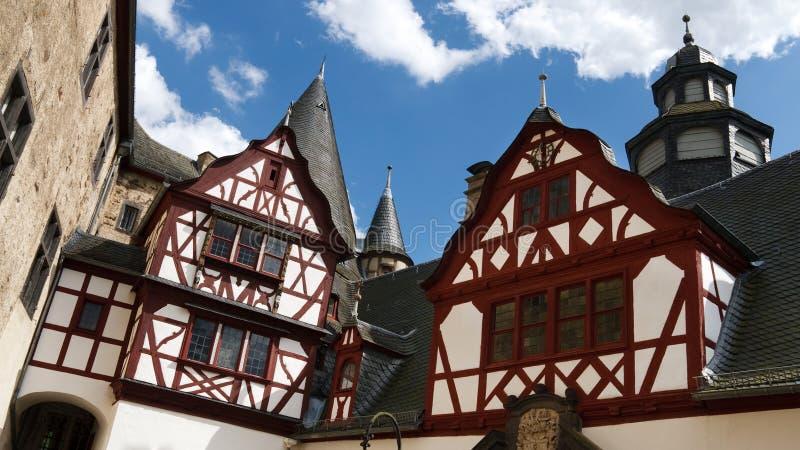 Arquitetura Half-Timbered em Schloss Buerresheim fotos de stock