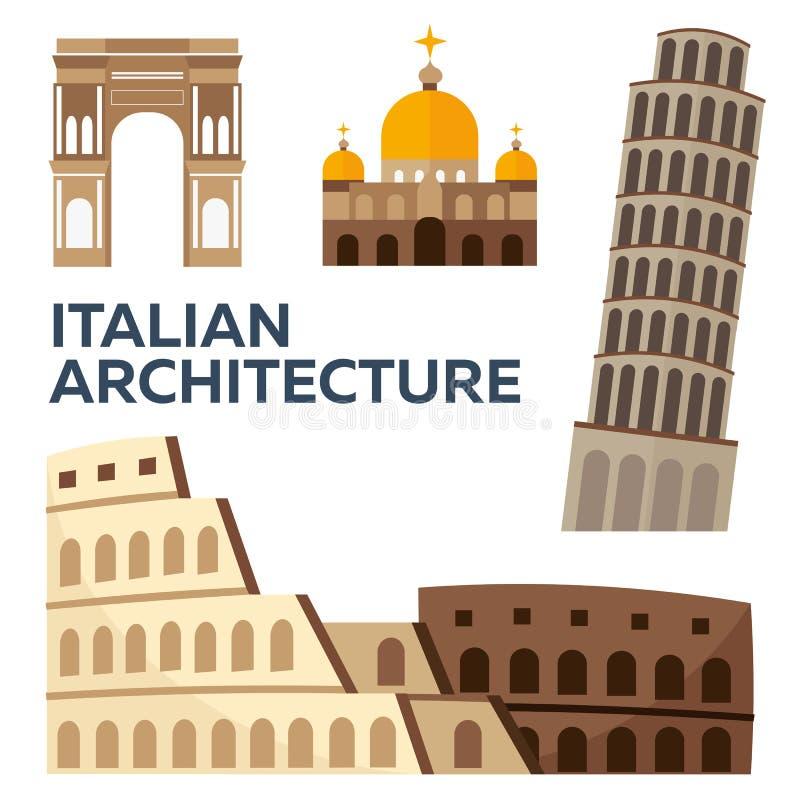 Arquitetura italiana Projeto liso moderno Ilustração do vetor ilustração do vetor