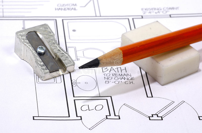 Arquitetura - lápis imagens de stock