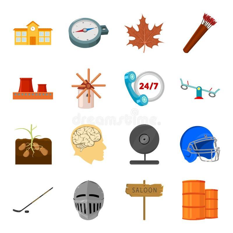 Arquitetura, logística, esporte e o outro ícone da Web no estilo dos desenhos animados Canadá, computador, ícones da indústria na ilustração stock