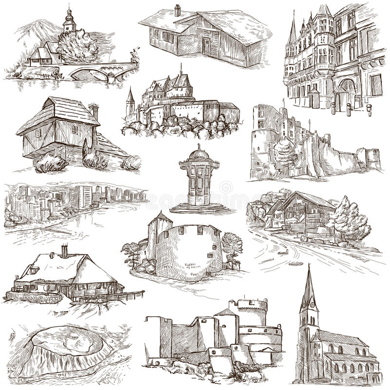 Arquitetura, lugares de Faous - coleção de esboços a mão livre ilustração stock