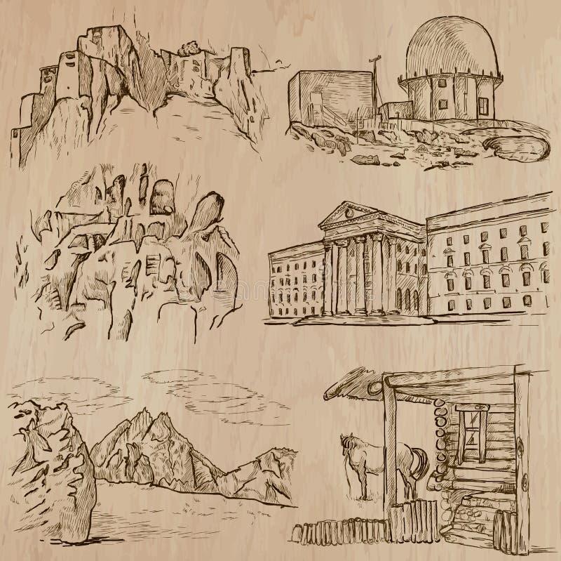 Arquitetura, lugares famosos - entregue vetores tirados ilustração do vetor
