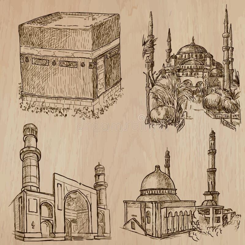 Arquitetura, lugares famosos - entregue vetores tirados ilustração stock