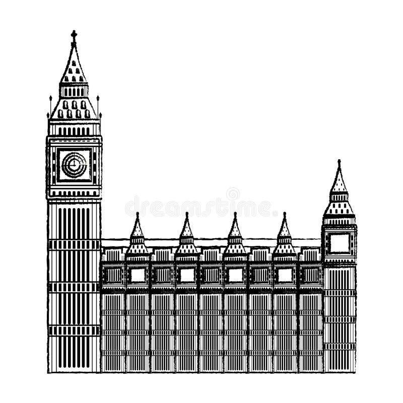 Arquitetura medieval da torre de pulso de disparo de Londres do Grunge ilustração royalty free