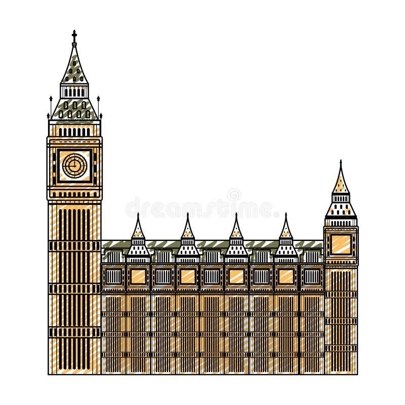 Arquitetura medieval da torre de pulso de disparo de Londres da garatuja ilustração do vetor