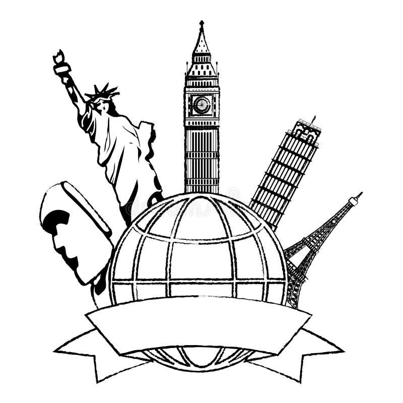 Arquitetura medieval das torres e das esculturas do Grunge no mundo ilustração do vetor
