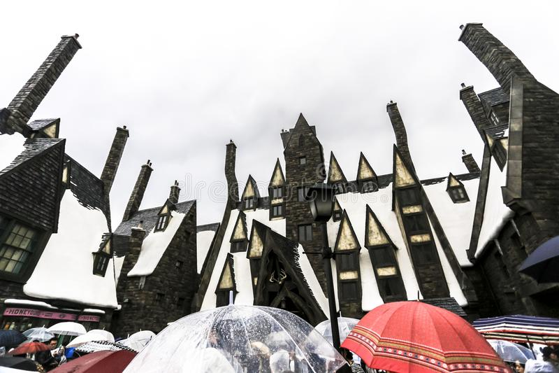 Arquitetura medieval osaka japão da igreja da construção do castelo da velha escola do feiticeiro de Harry Potter imagem de stock