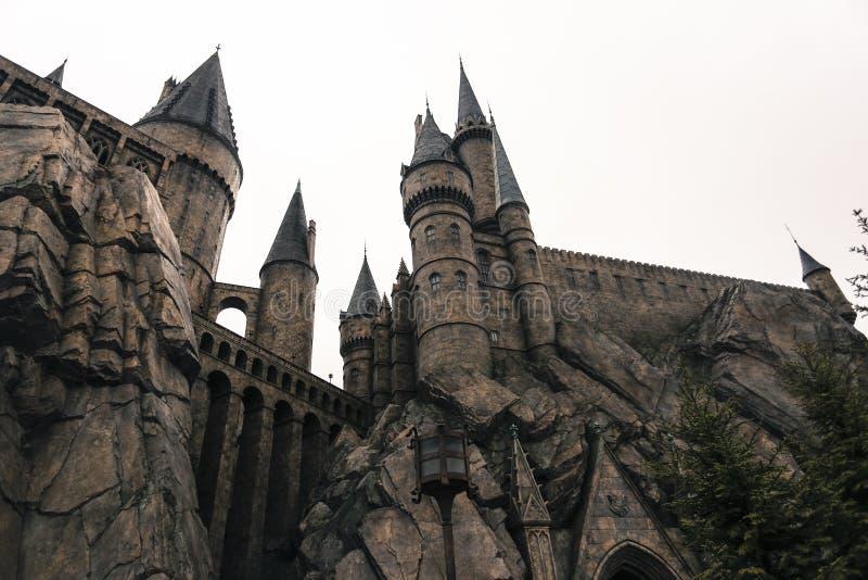 Arquitetura medieval osaka japão da igreja da construção do castelo da velha escola do feiticeiro de Harry Potter fotografia de stock royalty free