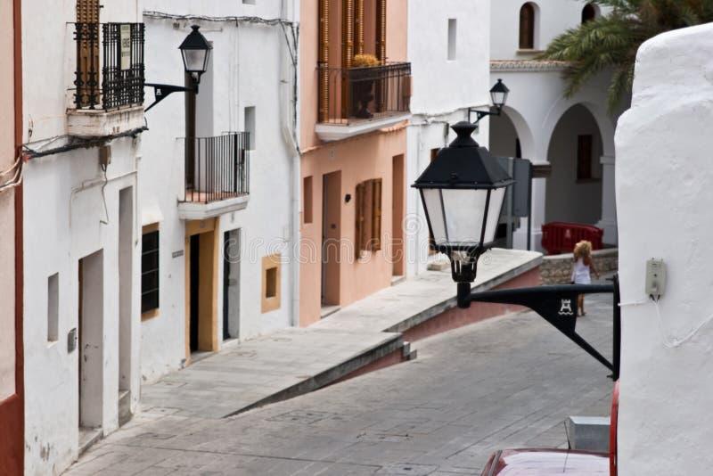 Arquitetura mediterrânea, Ibiza, console branco fotos de stock royalty free