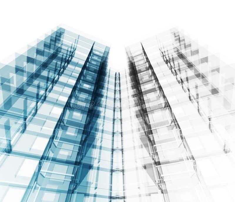 Arquitetura moderna da construção rendição 3d ilustração stock