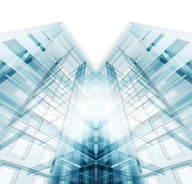 Arquitetura moderna da constru??o rendi??o 3d ilustração royalty free