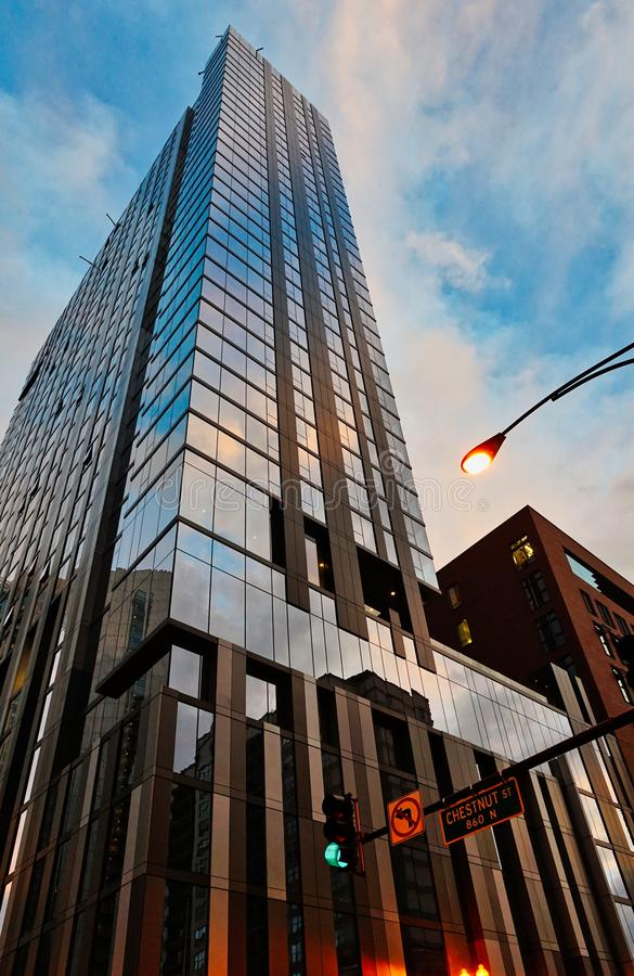 Arquitetura moderna do arranha-céus, Chicago Illinois fotografia de stock royalty free