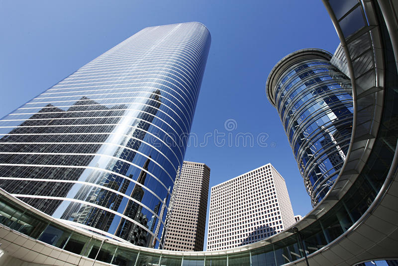 Arquitetura moderna em Houston da baixa foto de stock