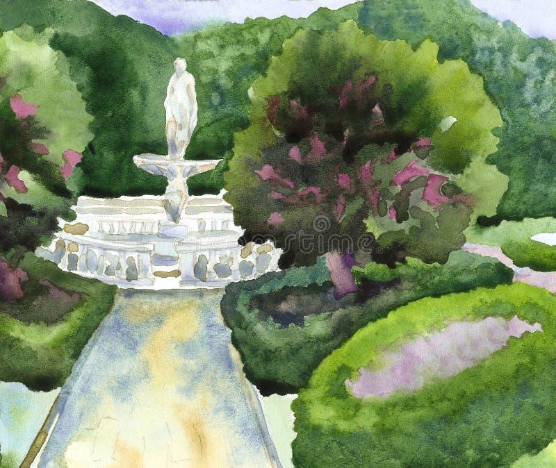Arquitetura paisagista de um parque da cidade com uma fonte, esculturas, ilustração royalty free