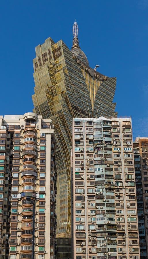 A arquitetura portuguesa da cidade velha Macau, China imagens de stock royalty free