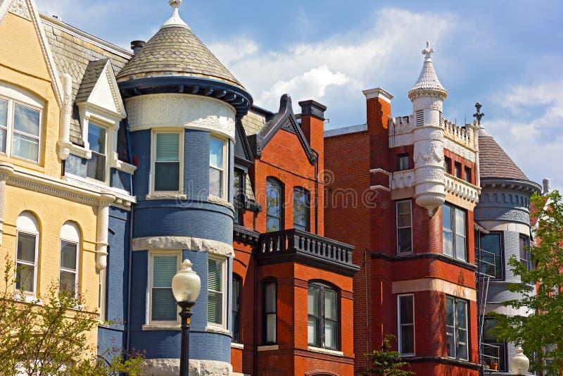 Arquitetura residencial histórica do Washington DC foto de stock