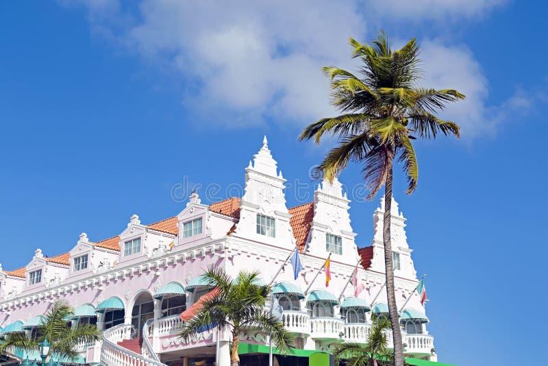 Arquitetura típica do projeto do dutch em Oranjestad Aruba fotografia de stock royalty free