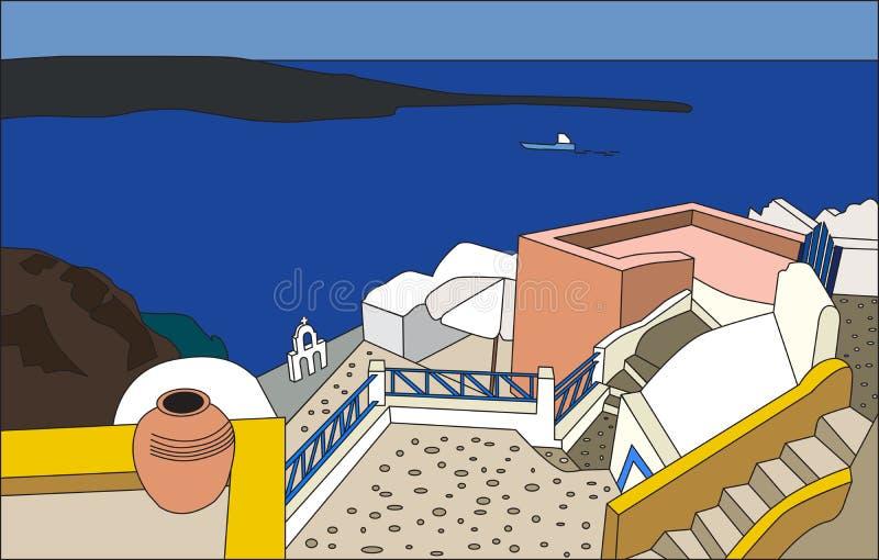 A arquitetura tradicional de Santorini, Oia, VE ilustração stock