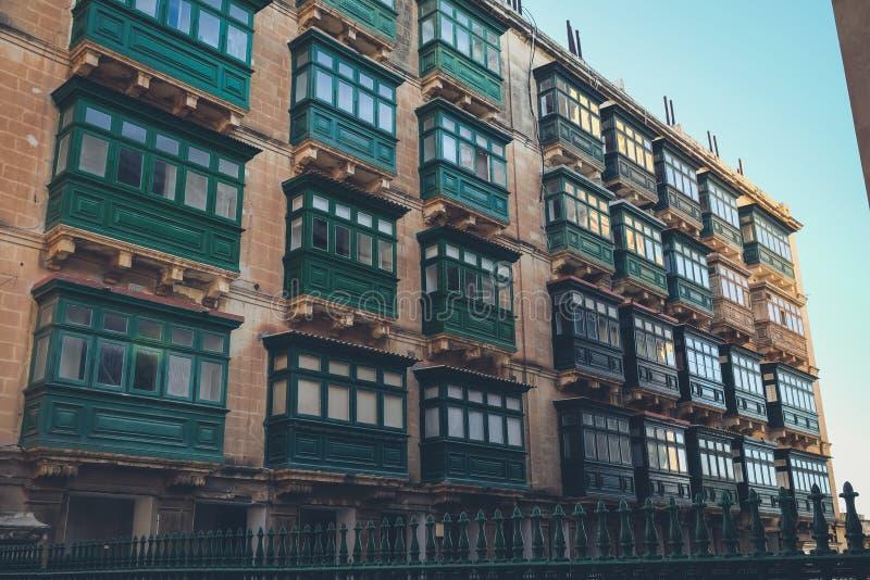 Arquitetura tradicional de Valletta, Malta foto de stock royalty free