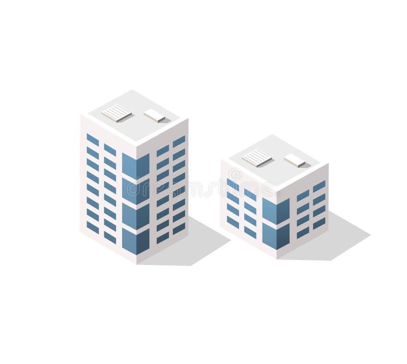 Arquitetura urbana isom?trica do vetor ilustração royalty free