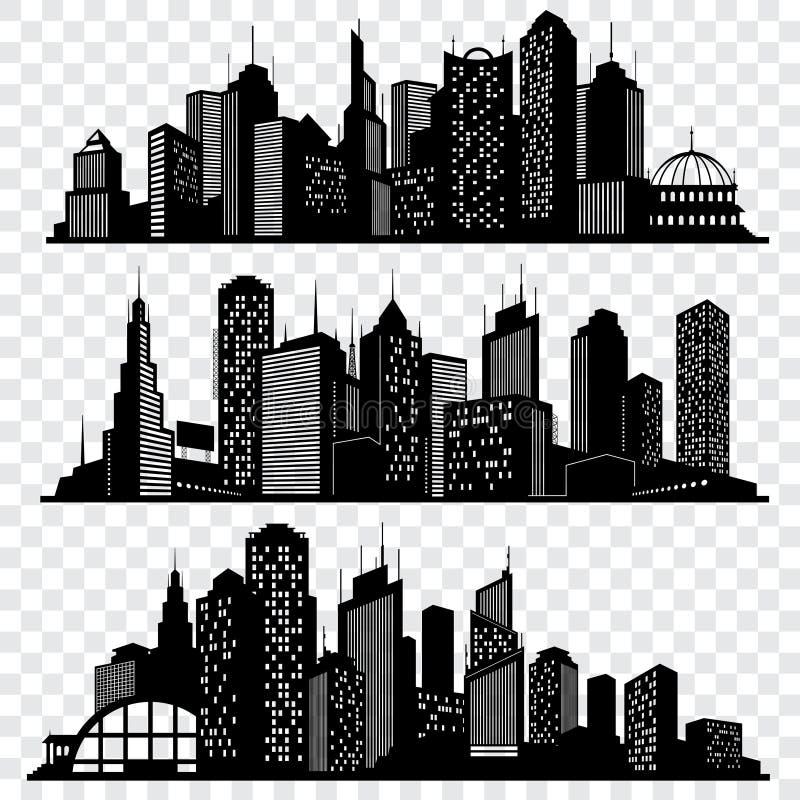 Arquiteturas da cidade, construções da skyline da cidade, grupo grande do vetor das silhuetas da cidade ilustração do vetor
