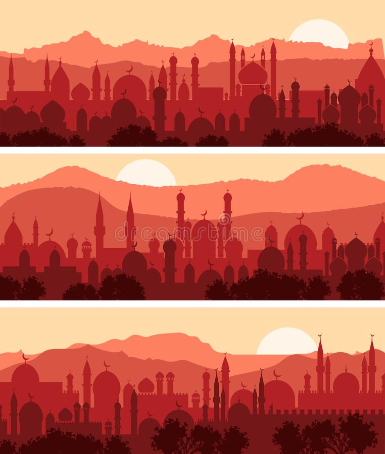 Arquiteturas da cidade muçulmanas ilustração stock