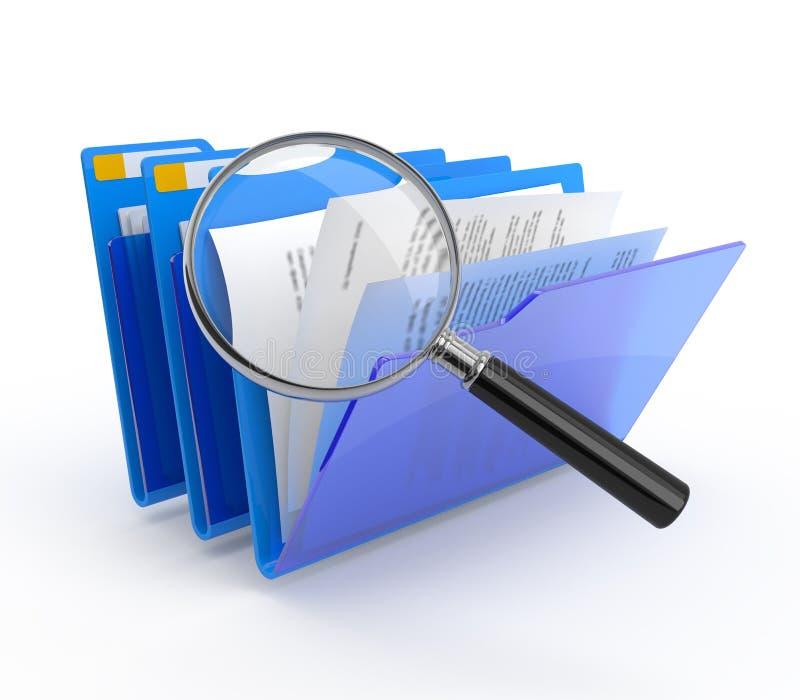 Arquiva a investigação. ilustração stock