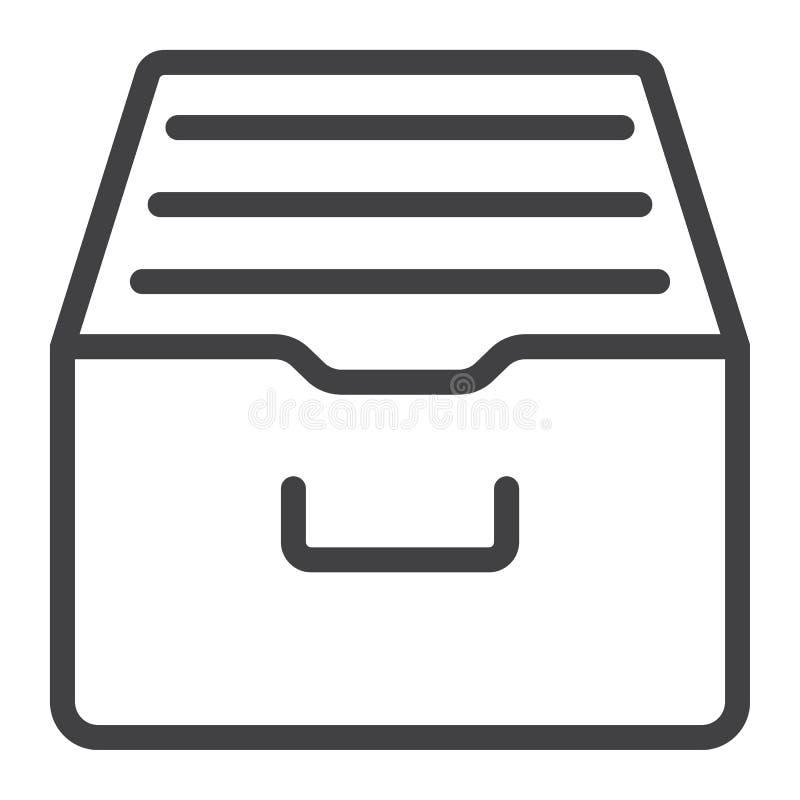 Arquive a linha ícone, Web e móbil do armazenamento ilustração royalty free