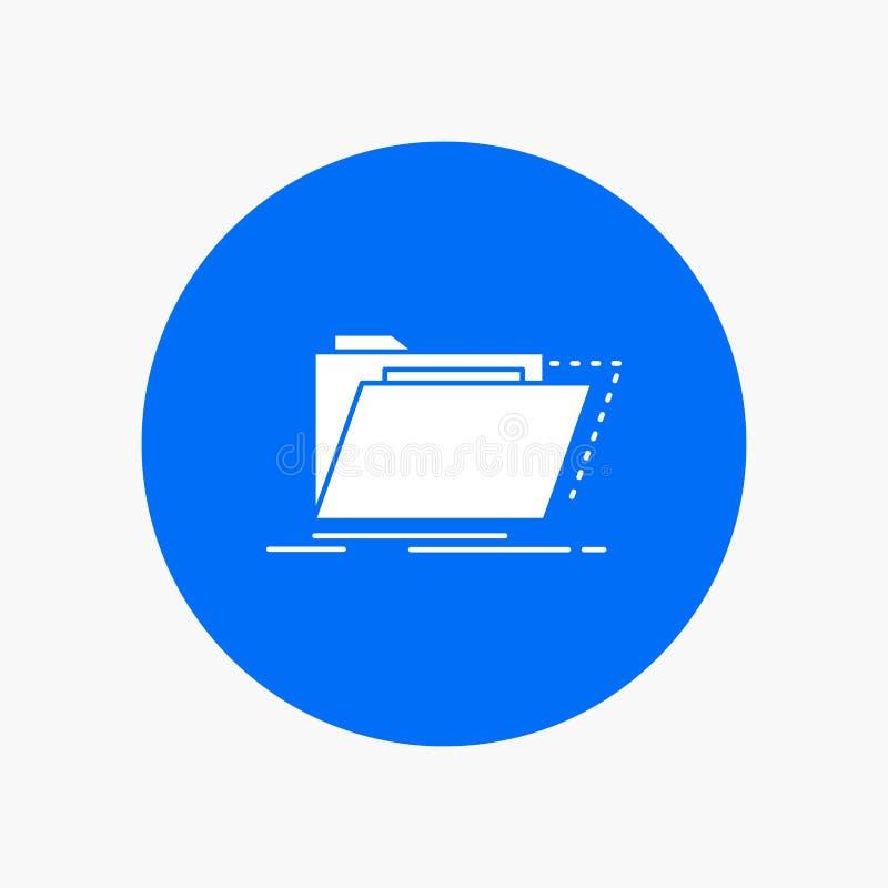 Arquivo, catálogo, diretório, arquivos, ícone branco do Glyph do dobrador no círculo Ilustra??o do bot?o do vetor ilustração stock