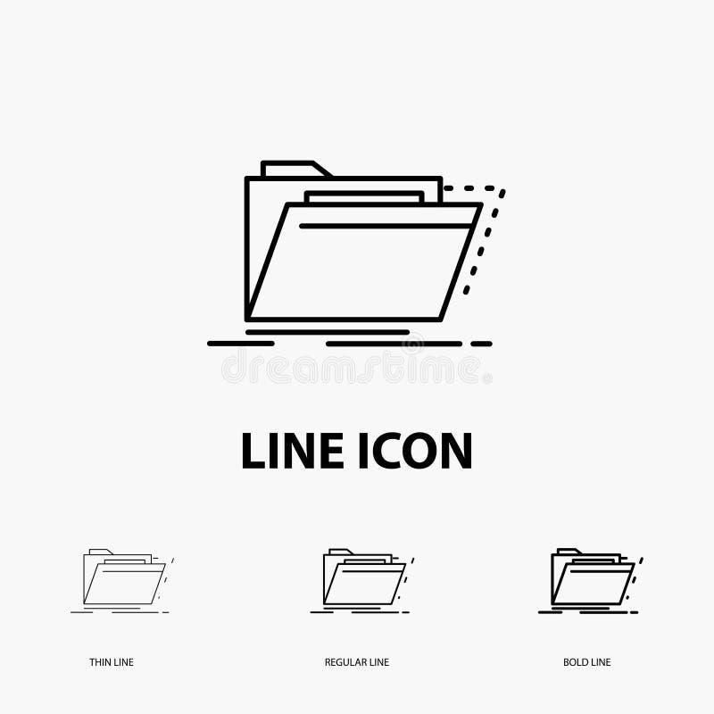 Arquivo, catálogo, diretório, arquivos, ícone do dobrador na linha estilo fina, regular e corajosa Ilustra??o do vetor ilustração stock