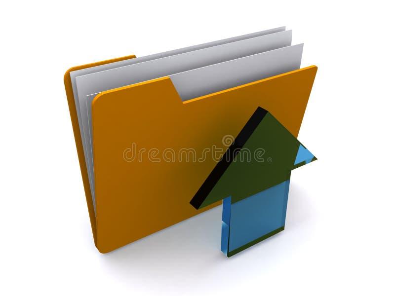 Arquivo com seta da transferência de arquivo pela rede ilustração do vetor
