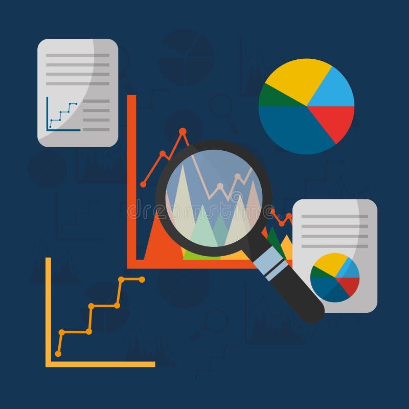 Arquivo da busca da apresentação da carta de torta dos gráficos das estatísticas ilustração stock