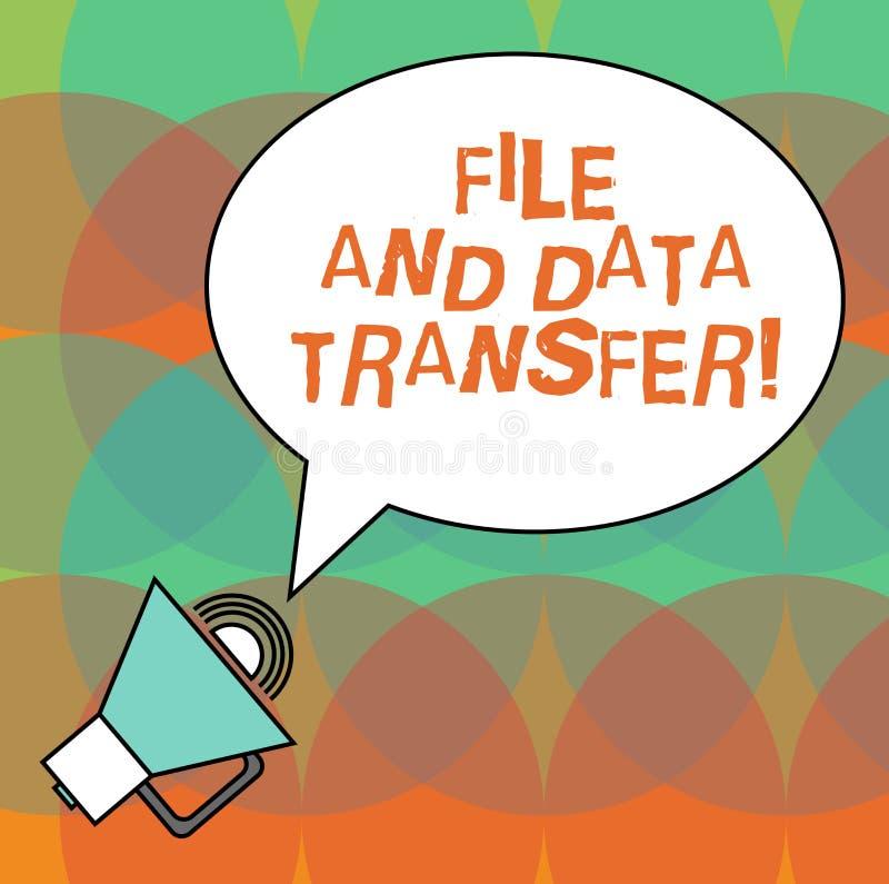Arquivo da exibição da escrita da mão e transferência de dados conceptuais Informação de transferência do texto da foto do negóci ilustração do vetor