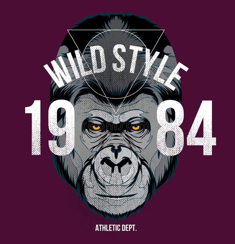 """Arquivo da ilustração do estoque do †da ilustração estoque """"do design†da camisa do """"do gorila t ilustração royalty free"""
