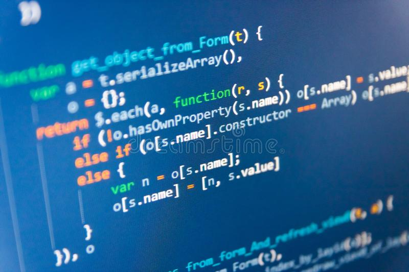 Arquivo da origem de dados do PHP Código do Javascript no editor de texto Conceitos de SEO para melhor SERP imagem de stock