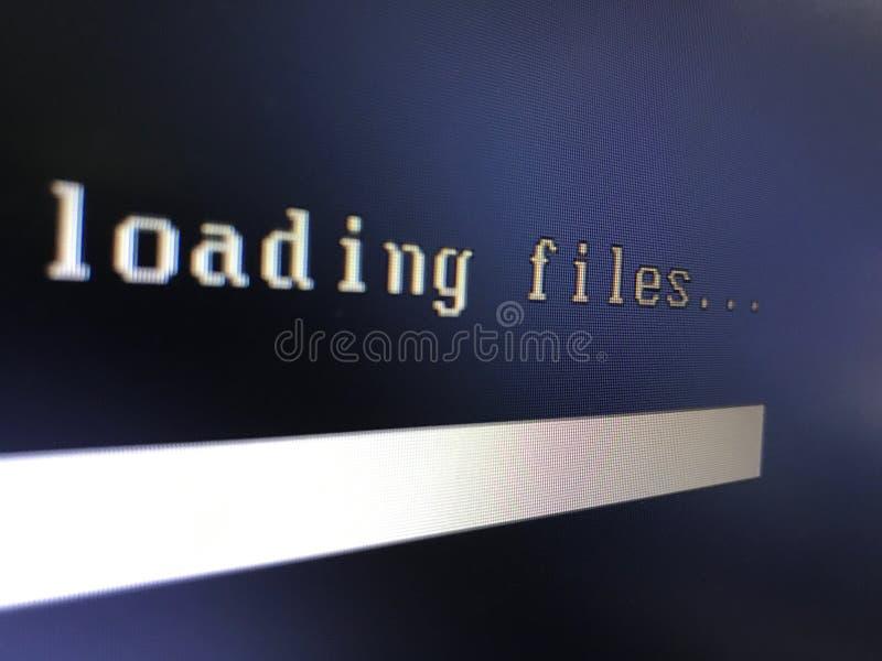 Arquivo da transferência do computador na exposição foto de stock royalty free