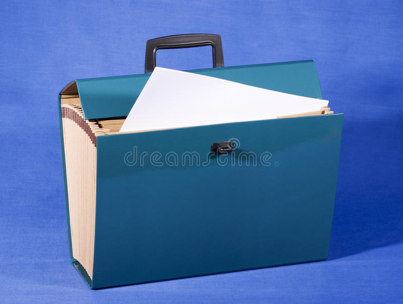 Arquivo de caixa azul fotos de stock