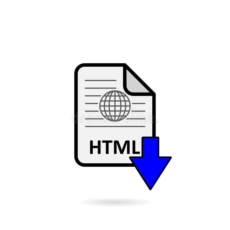 Arquivo de HTML com o botão azul da transferência da seta ilustração royalty free