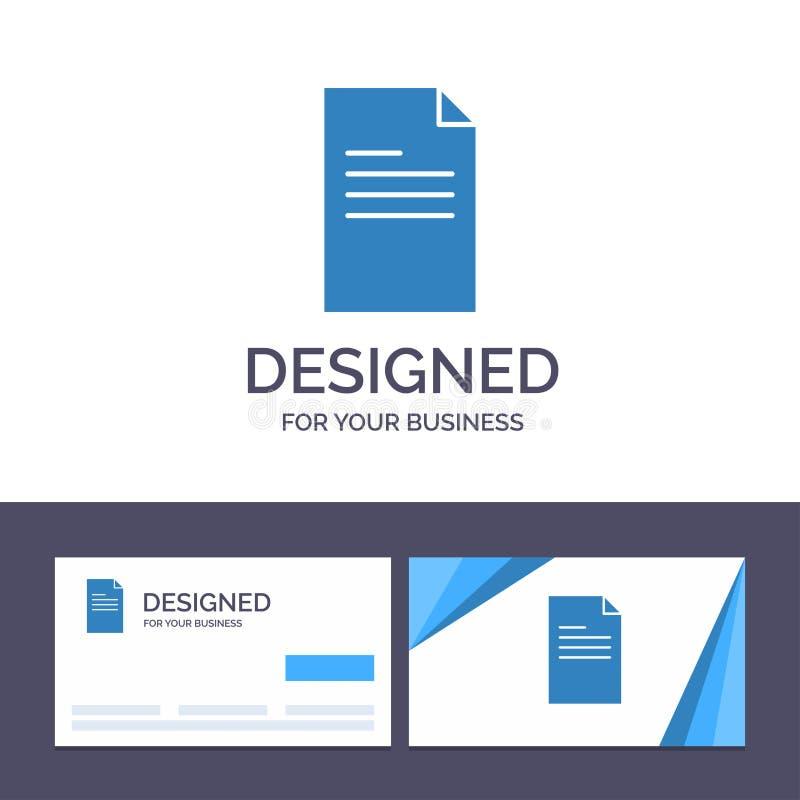 Arquivo de molde criativo do cartão e do logotipo, texto, dados, ilustração do vetor do relatório ilustração do vetor