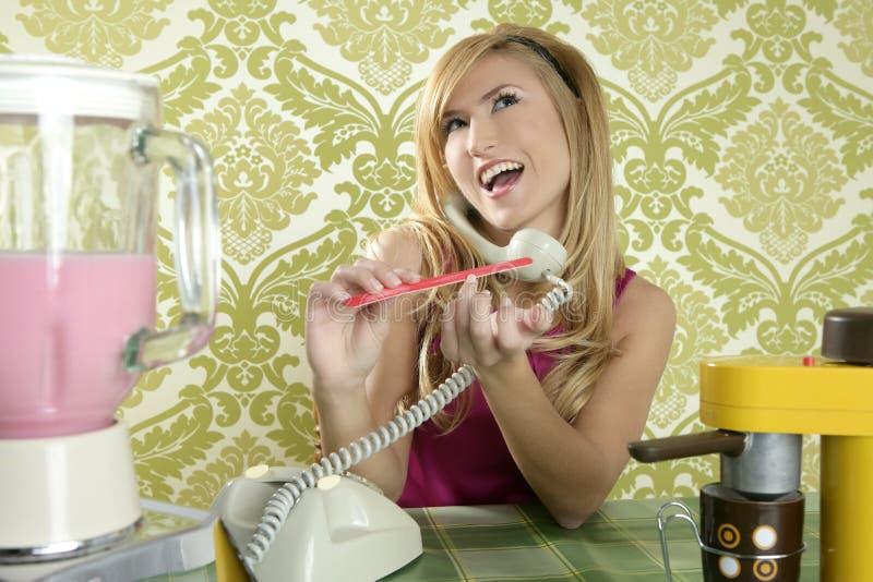 Arquivo de prego de fala do telefone do vintage retro da dona de casa imagem de stock