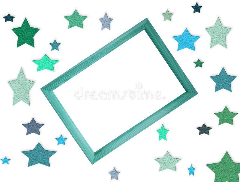 Arquivo digital do modelo com muitas estrelas coloridas e quadro de madeira no centro com espaço vazio livre da cópia para o text ilustração royalty free