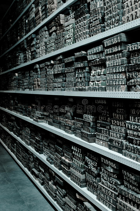 Arquivo dos blocos imagens de stock