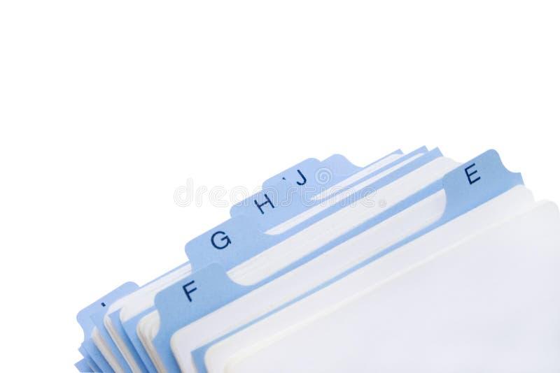 Arquivo dos contatos imagem de stock