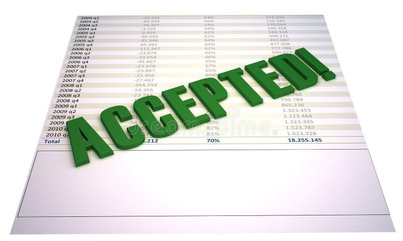 Arquivo financeiro aceitado isolado no branco ilustração royalty free