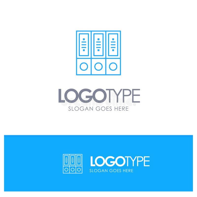Arquivos, arquivo, dados, banco de dados, documentos, logotipo azul do esboço dos dobradores com lugar para o tagline ilustração do vetor