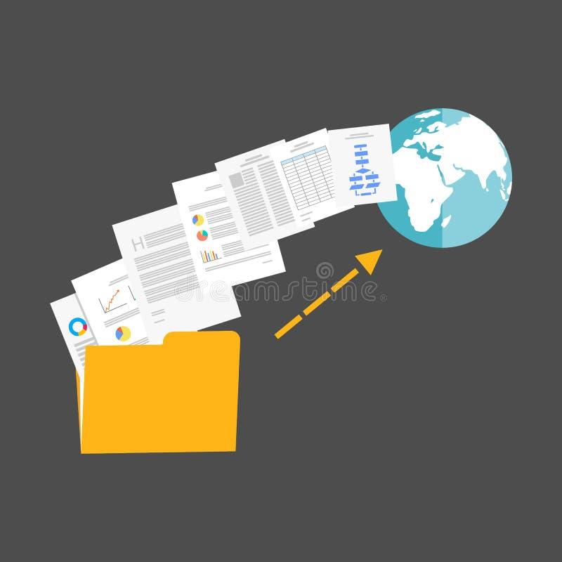Arquivos da transferência de arquivo pela rede à ilustração do Internet ilustração do vetor