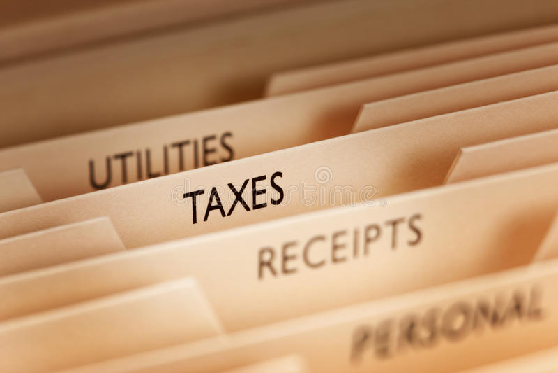 Arquivos de imposto imagens de stock royalty free