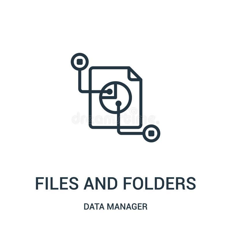 arquivos e vetor do ícone dos dobradores da coleção do gerente dos dados A linha fina arquivos e dobradores esboça a ilustração d ilustração stock