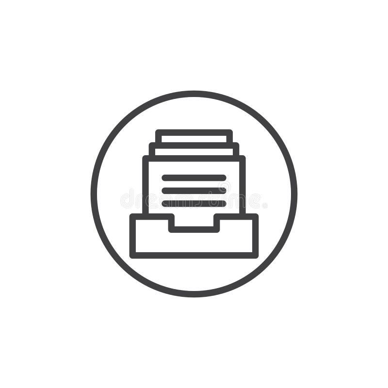 Arquivos na linha ícone da caixa ilustração stock